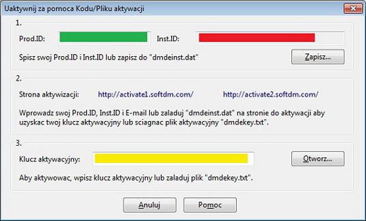 Aktywacja DMDE za pomocą pliku lub kodu