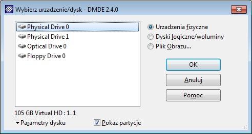 Aktywacja DMDE - Wybór dysku do którego przypisujemy program