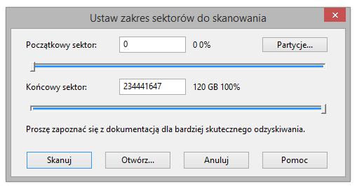 Zobacz jak Ustawianić zakres skanowania NTFS