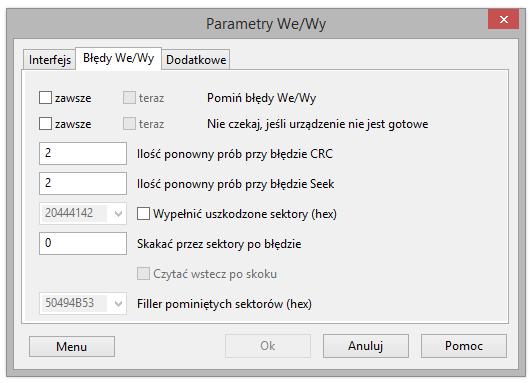 Parametry wejście i wyjścia, Błędy O/I