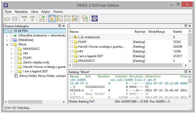 Zdjęcie głównego okna programu dmde - drzewo katalogów, panel plików i edytor dysku