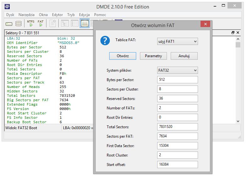 Zdjęcie DMDE - Otwieranie i szukanie FAT, okno parametrów