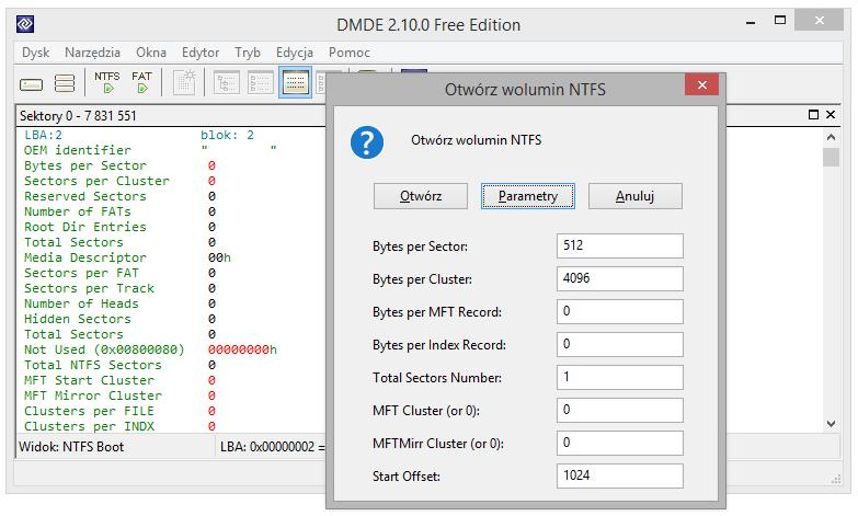 Screen pokazuje okno parametrów przy otwieraniu woluminu NTFS