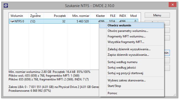 Zobacz na zdjęciu wyszukiwanie NTFS w toku